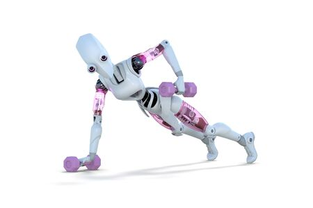 3d render of a female robot doing push ups with dumbbells, against a white background. Zdjęcie Seryjne