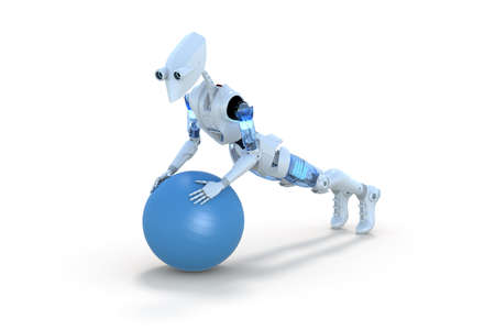 3d render of a robot doing push ups using an exercise ball, against a white background.