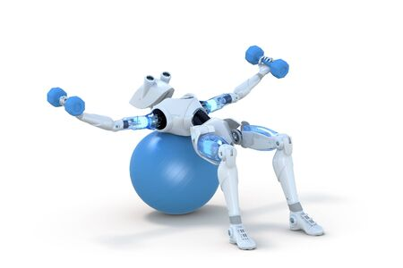3d render of a robot using dumbbells on a blue exercise ball, against a white background.