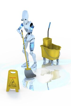 wet floor sign: 3d render of a robot mopping the floor, against a white background. Stock Photo