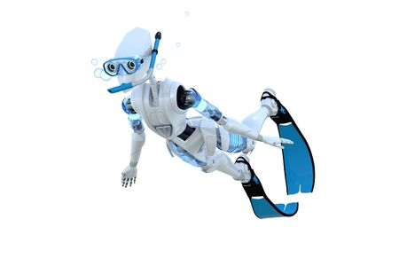 3d render of a robot snorkeling against a white background.