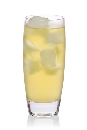 Glass of iced green against a white background.