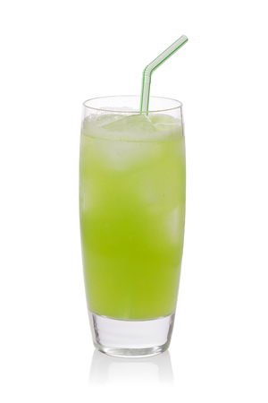 Iced cold cactus drink, or nopales agua fresca, against a white background. Stok Fotoğraf
