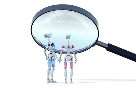 A couple of robots being examined under a magnifying glass. Stok Fotoğraf