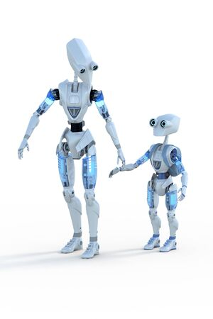 Parent and child robots against a white background. The child robot is wearing a blue backpack.