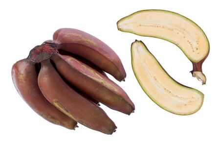 Composite of a bunch Red bananas, and a single banana sliced in half, on a white background.