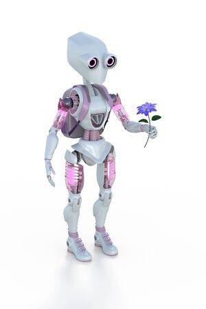 3d rendering of a girl robot with backpack holding a flower against a white background.