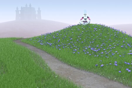 3D render of a female robot sitting on a grassy hill, reading a book. In front of her a dirt path leads towards a castle in the distance.