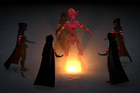 3D render of several robot witches summoning a rbot demon. The demon is standing in the center of a pentagram that is emitting a glowing light. Фото со стока