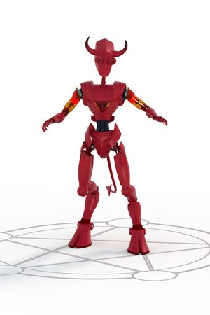 3D render of a red robot demon standing in summoning circle against a white backdrop.