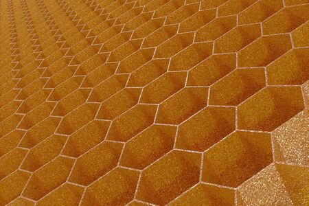 3D render of a background texture of a golden, honeycomb structure.