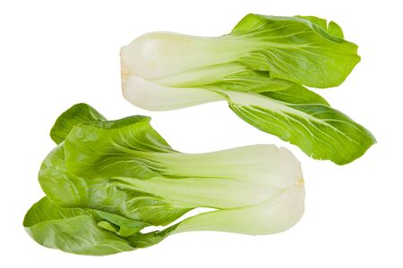 Two whole Bok Choy, or chinese cabbage greens against a white background.