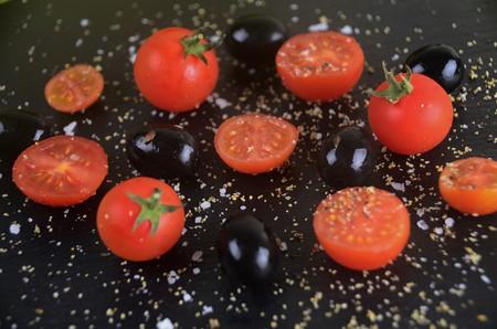 vegetal: Tomato and Olives Stock Photo