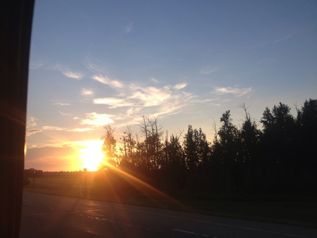 Sunset just hitting the beginning of the tree line in spruce grove Alberta