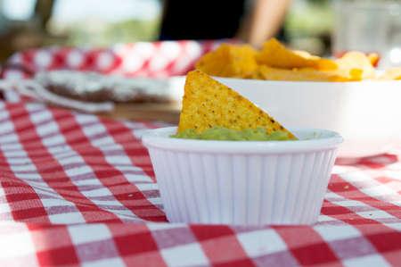 guacamole: Nachos and guacamole Stock Photo