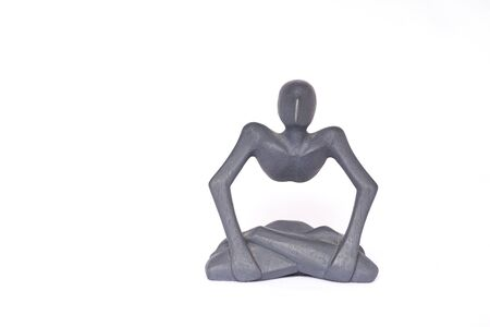 Gray figure isolated on white background, with human form, an icon of loneliness and world despair because of homebound.