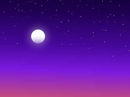 Twilight starry sky with moon vector background illustration evening art