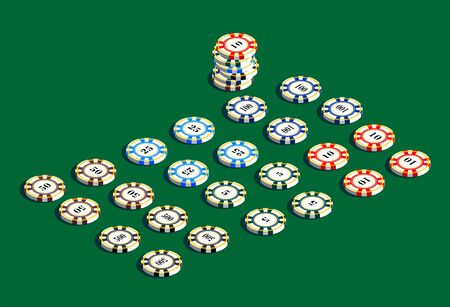 chances: Casino gambling chips set. A set of chips for a casino