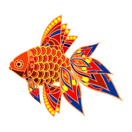 china watercolor paint: Colorful fish. image of a goldfish