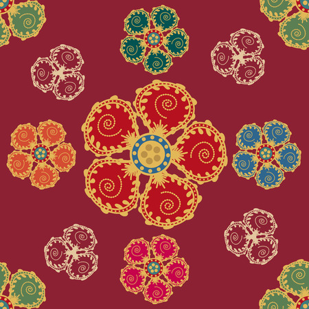 middle eastern: Seamless pattern with flowers in Middle Eastern style