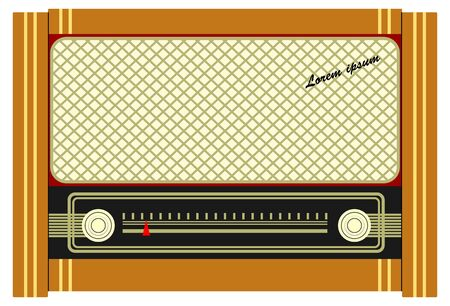 Vintage radio in a flat style
