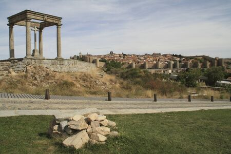 View of the city of Avila from the monument of the four poles