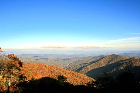 View of distant mountains in autumn on Blue Ridge Parkway, North Carolina photo