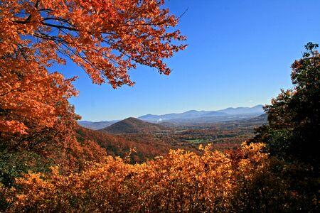 north ridge: View of distant mountains through autumn trees on Blue Ridge Parkway, North Carolina