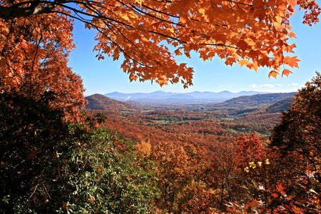 View of distant mountains through autumn trees on Blue Ridge Parkway, North Carolina photo