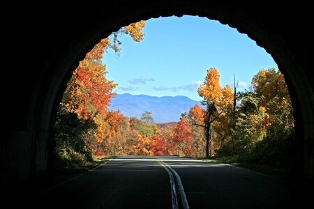 distant: View of distant mountains through tunnel on Blue Ridge Parkway, North Carolina