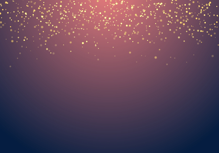 Abstract falling golden glitter lights texture on a dark blue background with lighting. Magic gold dust and glare. Festive Christmas background. Vector illustration