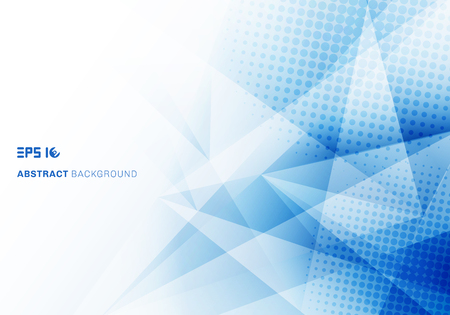 Abstraktes blaues Dreieckpolygon des niedrigen Polys und Halbton mit weißem Hintergrund des Kopienraums. Vektor-Illustration