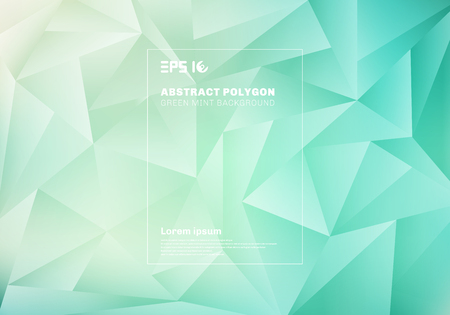Abstract low polygon or triangles pattern on blue green mint background and texture. Vector illustration Ilustração