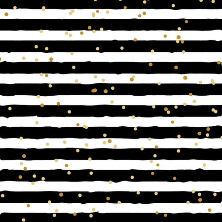 Abstract black and white striped on trendy background with random gold foil dots pattern. You can use for greeting card or wrapping paper, textile, packaging, etc. Vector illustration