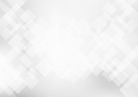 Concept de technologie abstrait élégant fond géométrique blanc et gris. Texture de motif de carrés. Illustration vectorielle