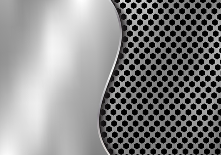 Abstract silver metal background made from hexagon pattern texture with curve sheet iron. Geometric black and white. Vector illustration