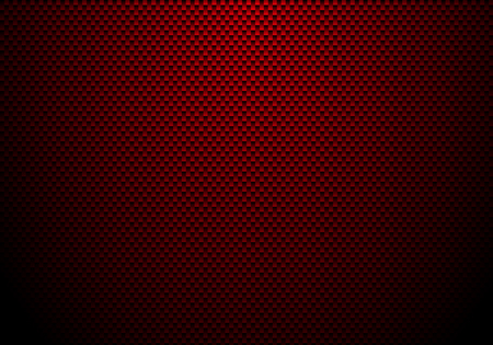 Red carbon fiber background and texture with lighting. Material wallpaper for car tuning or service. Vector illustration Vectores