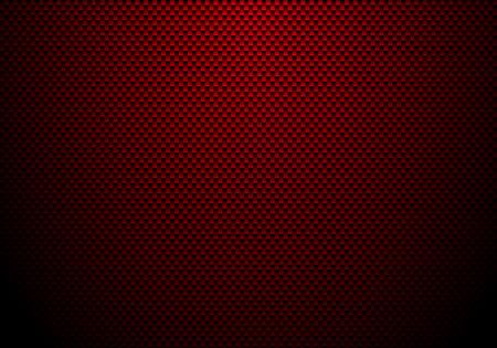 Roter Kohlefaserhintergrund und -beschaffenheit mit Beleuchtung. Materialtapete für Autotuning oder Service. Vektor-Illustration