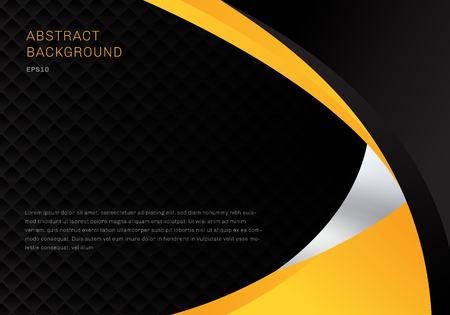 Template abstract yellow and black contrast corporate business curves background with squares pattern texture and copy space. You can use for cover brochure, poster, flyer, leaflet, banner web, etc. Vector illustration Illustration