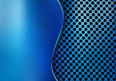 Abstract blue metallic metal background made from hexagon pattern texture with curve sheet iron. Geometric texture. Vector illustration