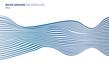 Abstract horizontal lines blue wave design pattern horizontal lines on white background. optical art texture. Vector illustration