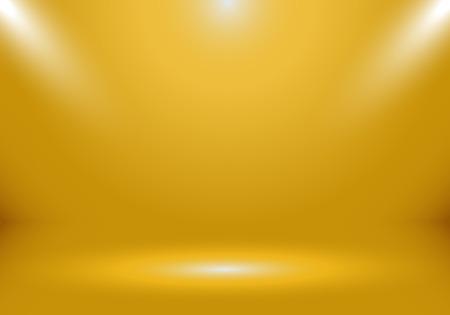 3D leerer goldener Studioraum-Showstand für Designer mit Scheinwerfer auf goldenem Farbverlaufshintergrund. Zeigen Sie Ihr Produkt oder Kunstwerk im Luxusstil an. Vektor-Illustration