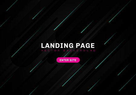 Abstract minimal geometric black color background technology style. template website landing page. Dynamic blue elements composition. Vector illustration Illustration