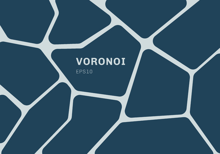 Abstract dark blue voronoi diagram background. Geometric Mosaic backdrop and wallpaper. Vector illustration Vector Illustration