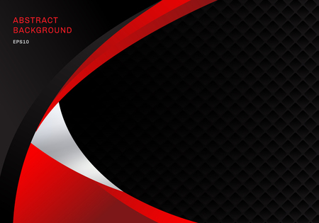 Template abstract red and black contrast corporate business curves background with squares pattern texture and copy space. You can use for cover brochure, poster, flyer, leaflet, banner web, etc. Vector illustration