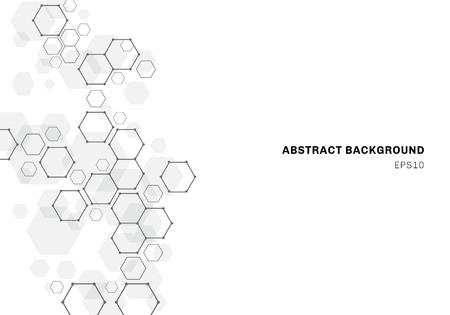 Structure de molécule hexagonale abstraite du système de neurones. Contexte de la technologie numérique. Futur modèle géométrique. Illustration vectorielle Vecteurs