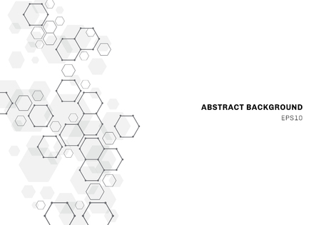 Struttura astratta della molecola esagonale del sistema dei neuroni. Sfondo di tecnologia digitale. Modello geometrico futuro. Illustrazione vettoriale Vettoriali