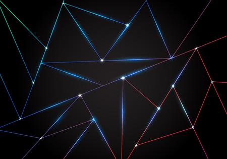 Motif polygonal de technologie abstraite et lignes laser de triangles noirs avec éclairage sur fond sombre. Formes géométriques dégradées à faible polygone. Illustration vectorielle