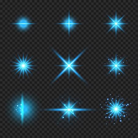 Eine Reihe von Elementen, die blaue Lichtstrahlen leuchten, Sterne platzen mit Funkeln einzeln auf transparentem Hintergrund. Vektor-Illustration