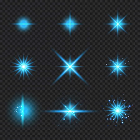 Set of elements glowing blue light burst rays,, stars bursts with sparkles isolated on transparent background. Vector illustration